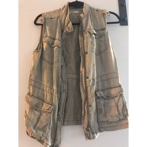 Max Jeans Art Grey Tencel Military Style Vest